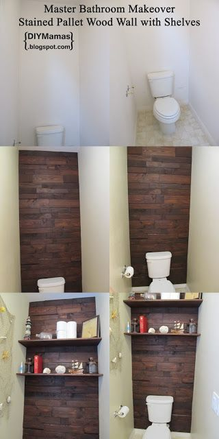 DIY Mamas: Master Bathroom Makeover! {Stained Pallet Wood Wall with Shelves}. The wall is amazing (though