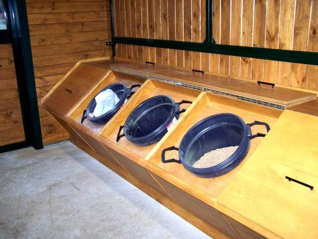 Feed room built ins with removeable tubs