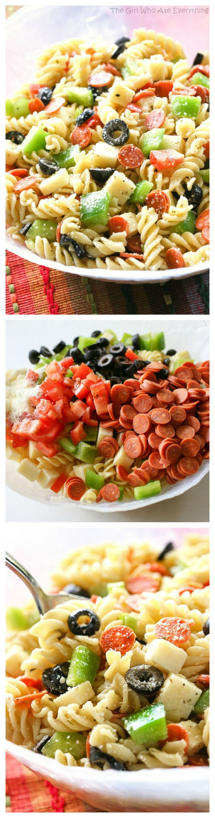 Pizza Pasta Salad – all the flavors of a delicious pizza in a pasta salad. Warmed up the leftovers with ma