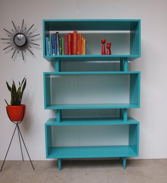 Custom Mid Century Bookcase by ELEMENTSofIRONnWOOD on Etsy, $450.00 – I want to make something like this.