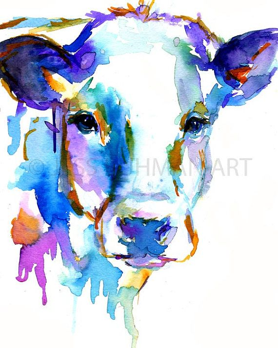 Cow by Jessica Buhman, Print of Original Watercolor Painting, 8 x 10 Farm Animal Cow Watercolor
