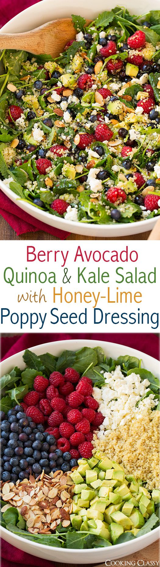 Berry Avocado Quinoa and Kale Salad with Honey-Lime Poppy Seed Dressing – a healthy superfood salad that i