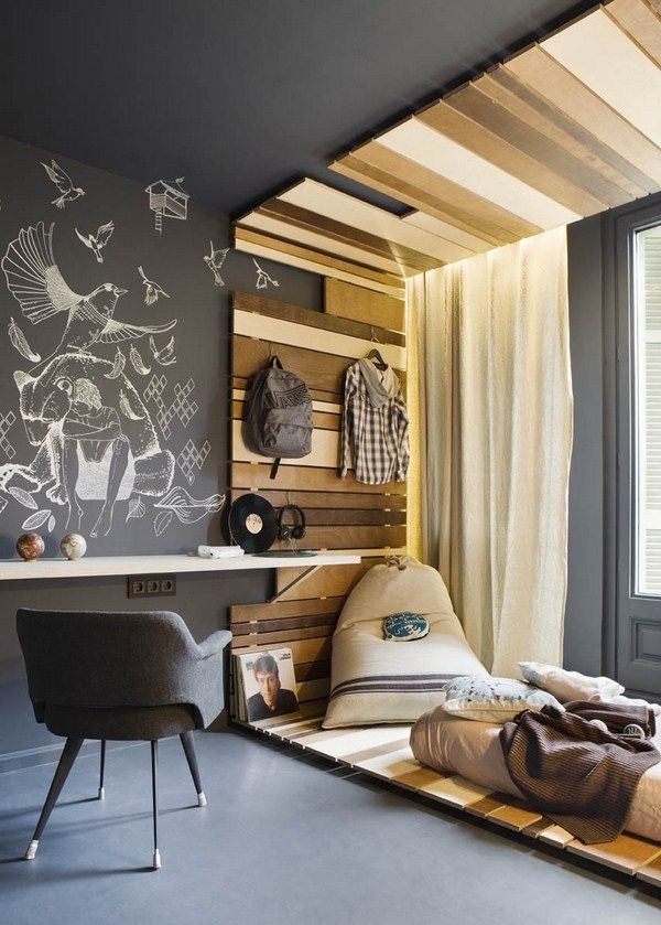 Love this use of grey and wood. More than that – love idea of strip up wall continuing on floor and/or cei