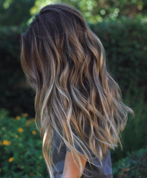 Such healthy hair: Browns, ash blonde, and deep sand shades makes this a deeper sun kissed color