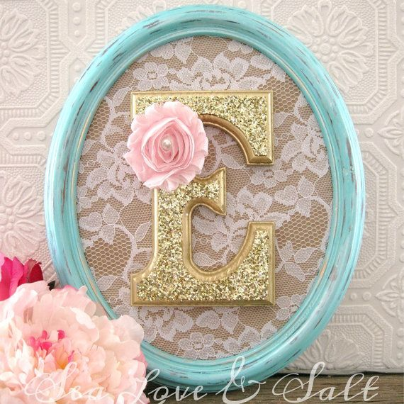 blue/green and gold nursery decorative letter with lace and pink flower… possible DIY project