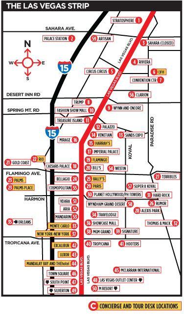 Las Vegas Map -The Strip. I would print this map off and keep it in my purse. Would come in handy when wal