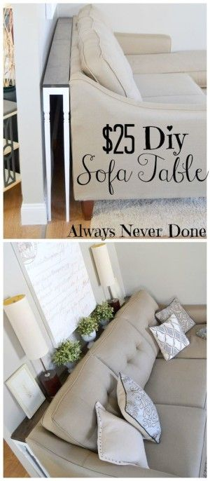 #20. Build a narrow sofa table to place behind your couch! Perfect for drinks when there's no room for a c