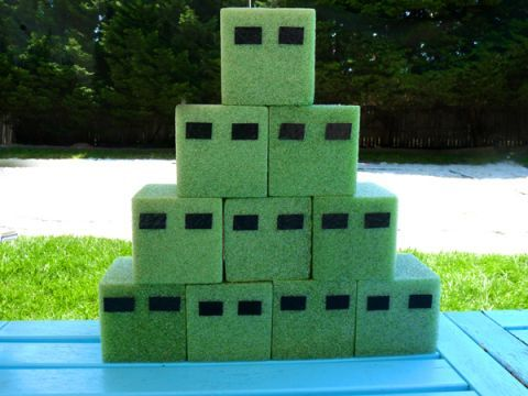 minecraft game – foam from dollar store, shoot with bows and arrows