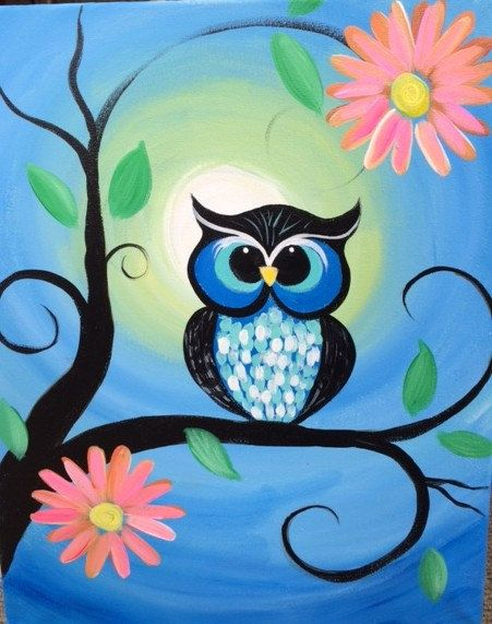 This 16X20 canvas painting depicts a brightly colored #owl sitting on a tree branch with pink & orange flo