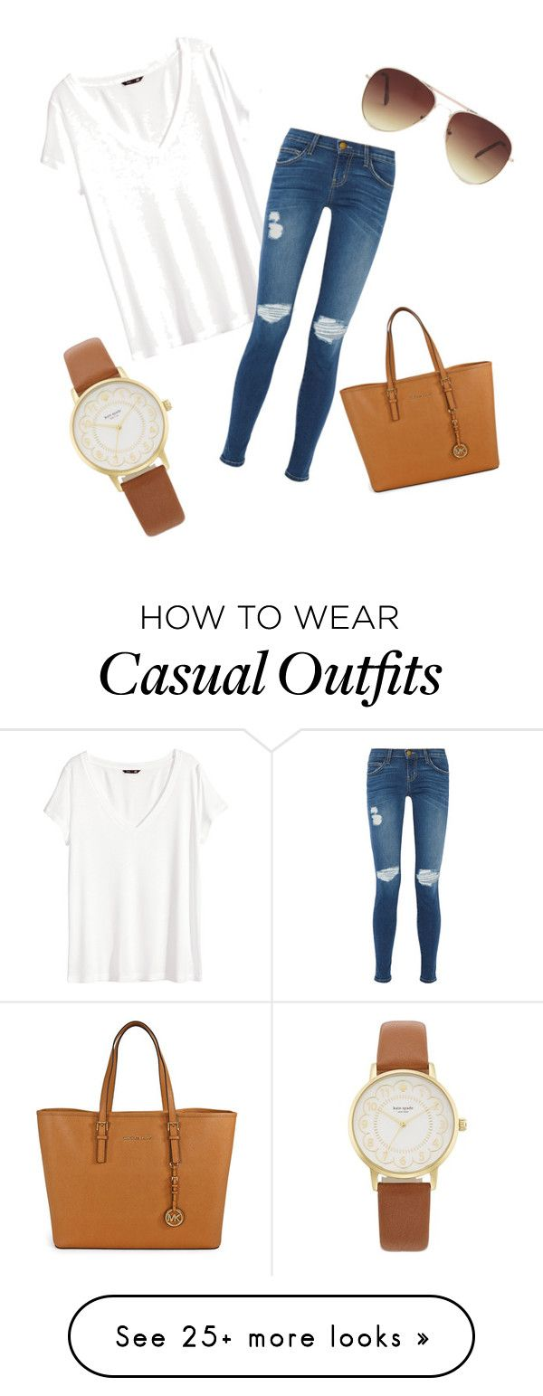 """Casual"" by jacqueline-mccloskey on Polyvore featuring H&M, Current/Elliott, Michael Kors, Forever 21 and"