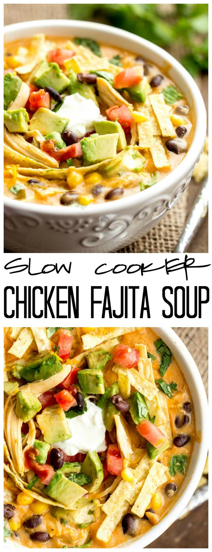This Slow Cooker Chicken Fajita Soup takes 5 minutes to throw into the crockpot and will be the best and c