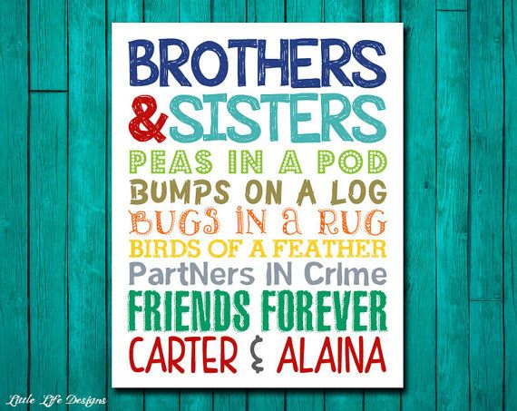 Brothers & Sisters. Sibling Wall Art. Kids Room Decor. Bro and Sis Sign. Nursery Decor. Twins. Brother and