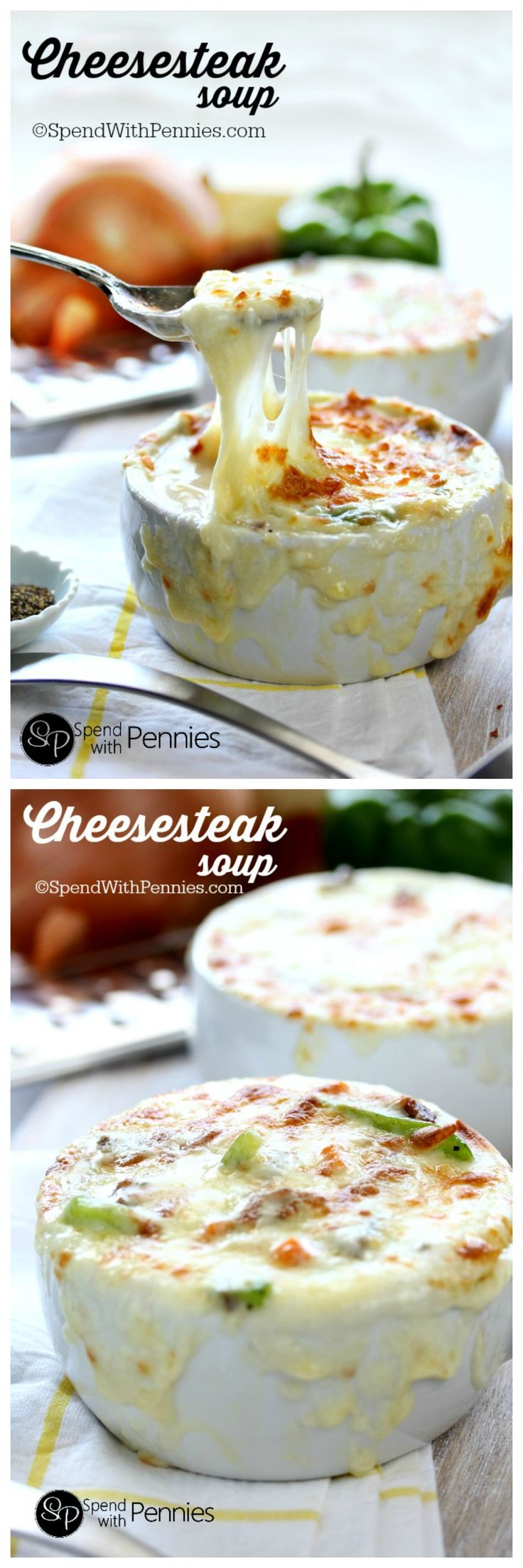 Baked Cheesesteak Soup! Loaded with beef, peppers and cheese this creamy cheesy soup recipe is a great twi