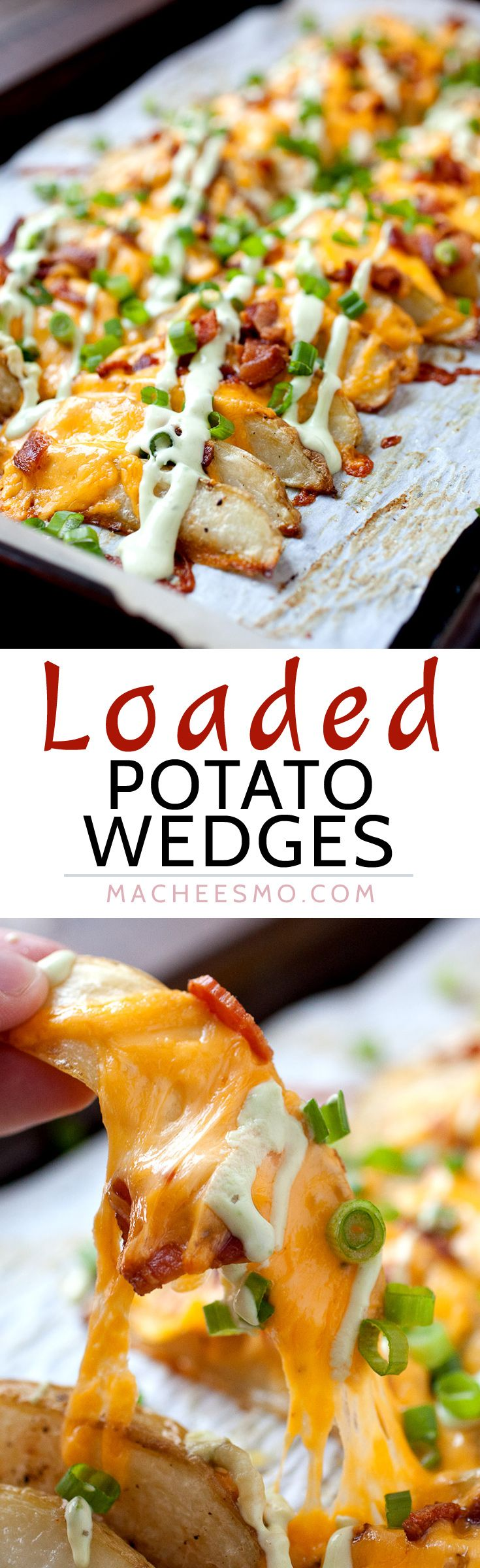Loaded Potato Wedges – Appetizer? Side dish? Main meal? These completely loaded baked potato wedges have c