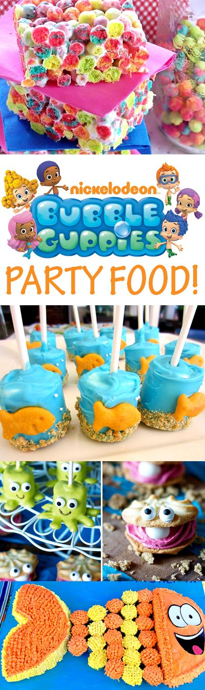 Bubble Guppies party food ideas!  Goldfish marshmallow pops, M&M fish cupcakes, Mr. Grouper cupcake cake,