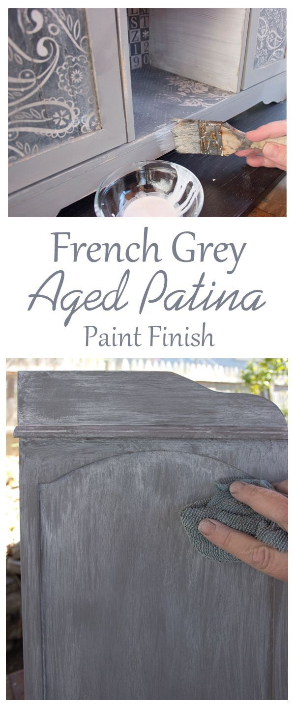 Create a Gorgeous French Grey Aged Patina Finish! I love this beautiful Furniture Painting Technique by Th