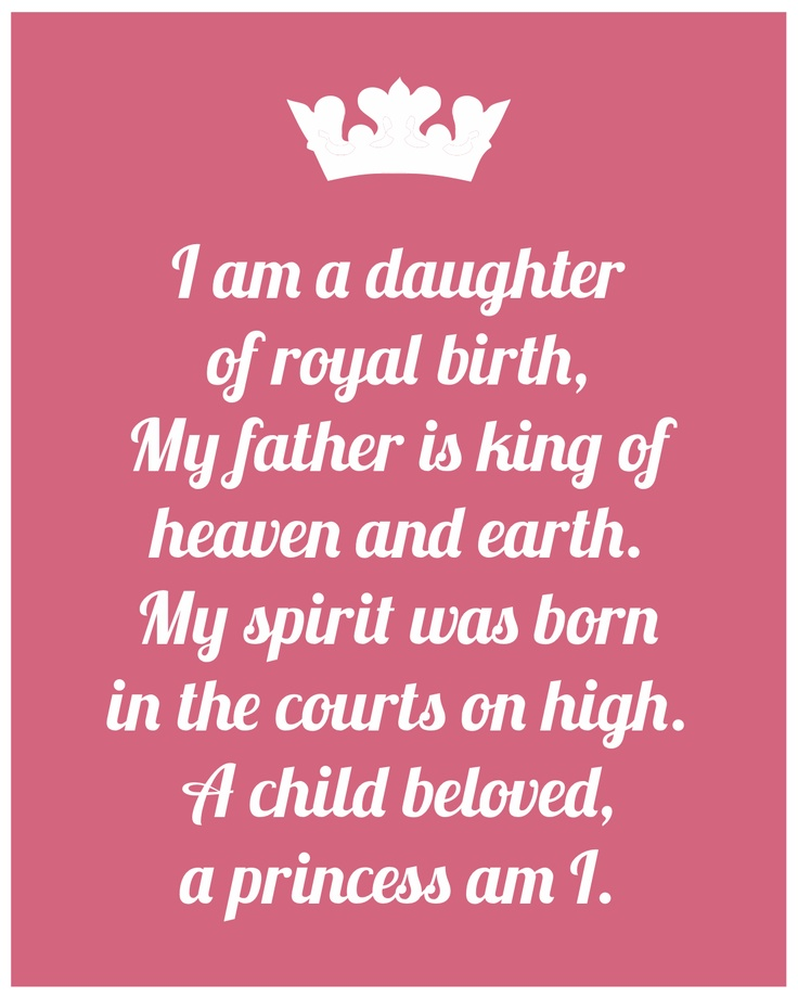 divine potential.    (Put this on your mirror and read and remember you are the princess of the Most High