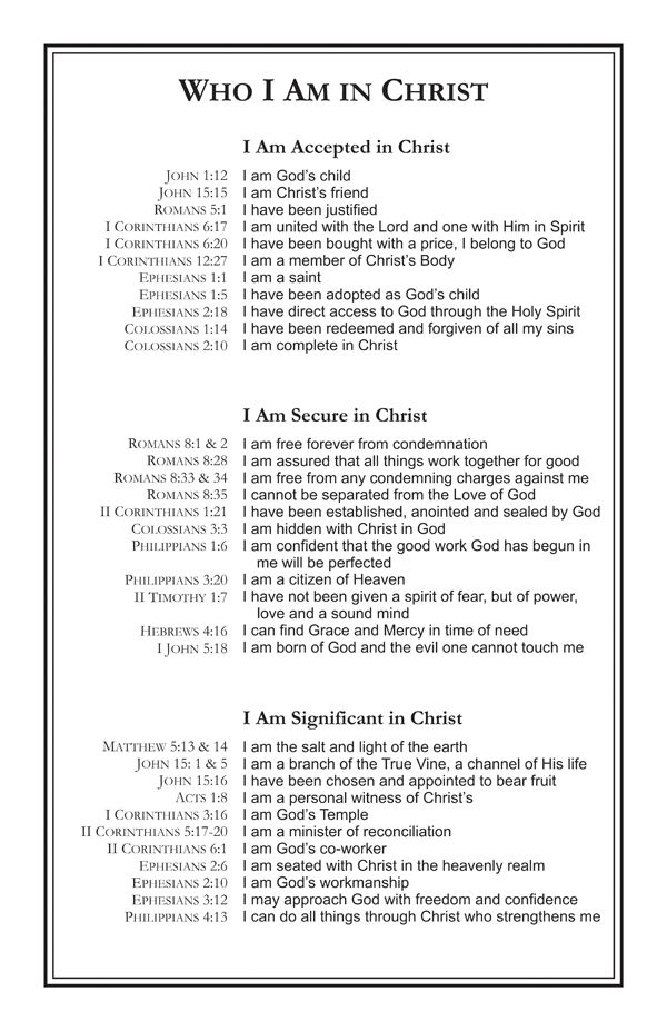 Who I am in Christ…need to print this!