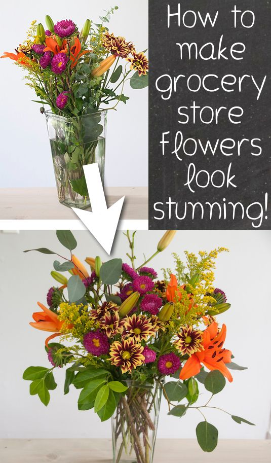 #13. Learn how to make grocery store flowers look gorgeous! — 13 Clever Flower Arrangement Tips & Tricks