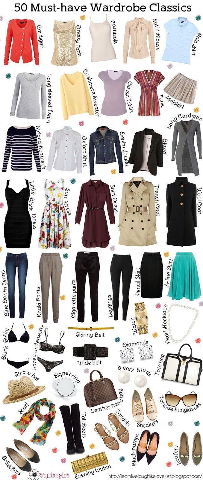 … Must have clothing items classics for wardrobe..have some .need toprint and make check off list in clo