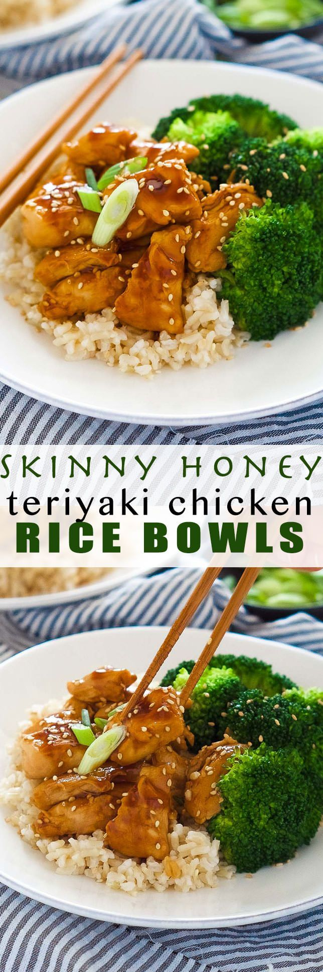 These delicious Skinny Honey Teriyaki Chicken Rice Bowls are a super quick dinner! Tender chicken is saute