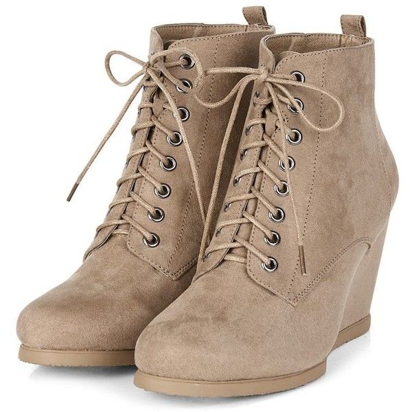 Light Brown Lace Up Wedge Boots ($38) ❤ liked on Polyvore featuring shoes, boots, ankle booties, wedges,