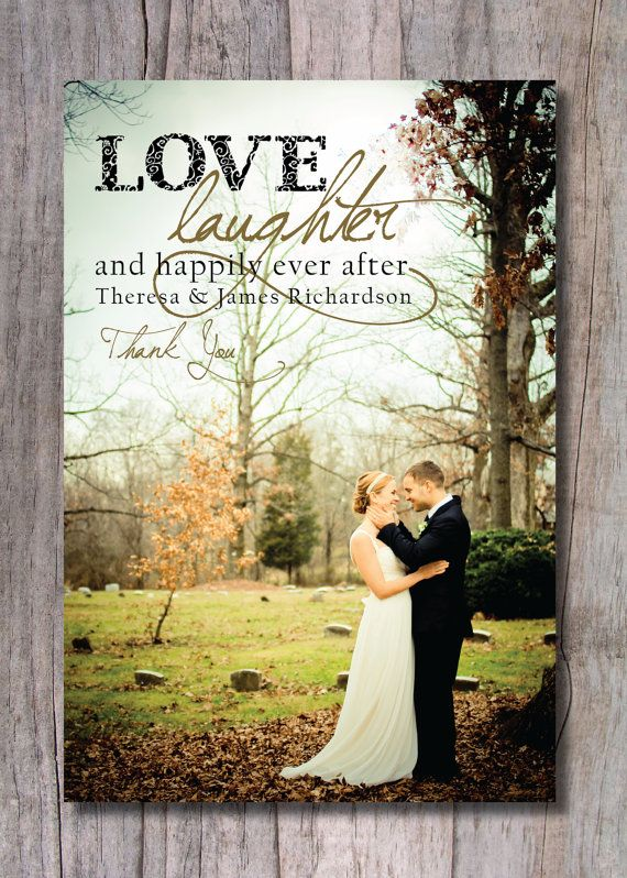 Custom Wedding Thank You Photo Card – Happily Ever After on Etsy, $15.00