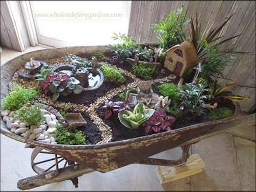 Here's another succulent garden idea (see the slide before this). Its a Wheelbarrow Succulent Fairy Garden