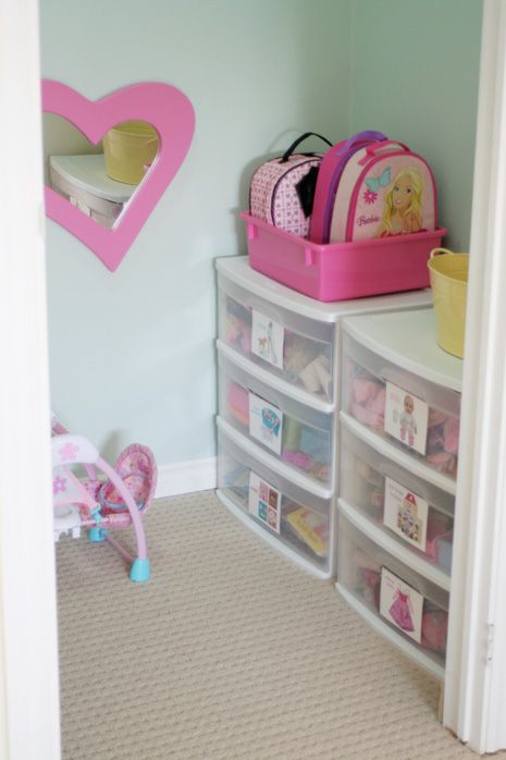 ~Toy Room Organisation~  Plastic craft storage drawers from the discount stores are great for organising t
