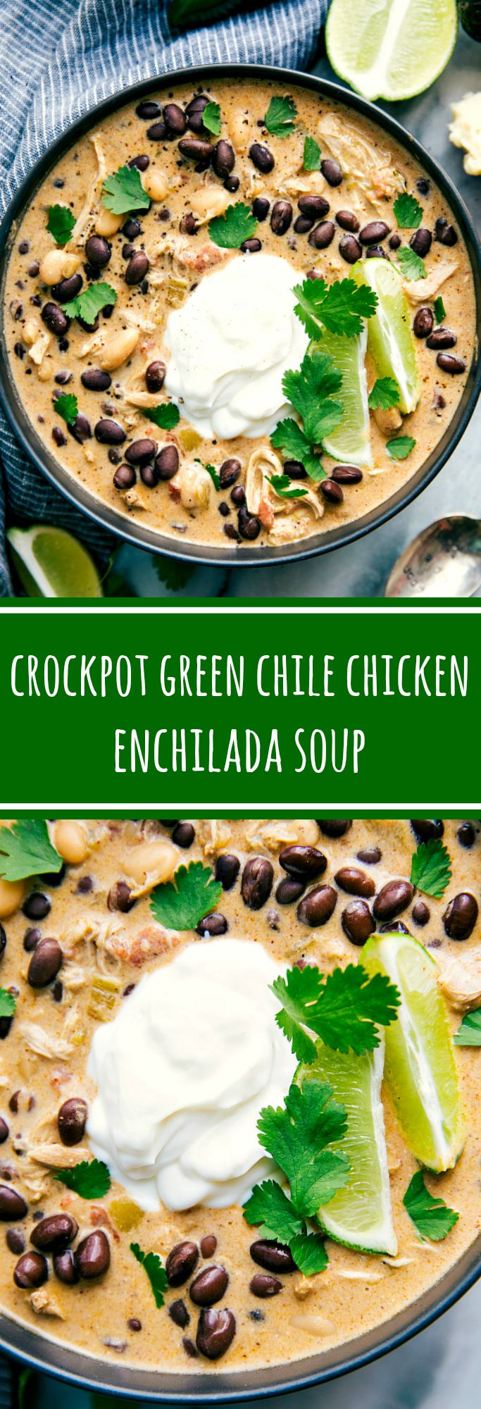 Crockpot Green Chile Chicken Enchilada Soup — your favorite green chile chicken enchiladas in a cream
