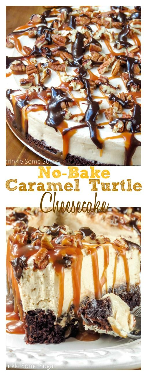 No-Bake Caramel Turtle Cheesecake. This cheesecake is super creamy, rich and decadent with a fudgy bro