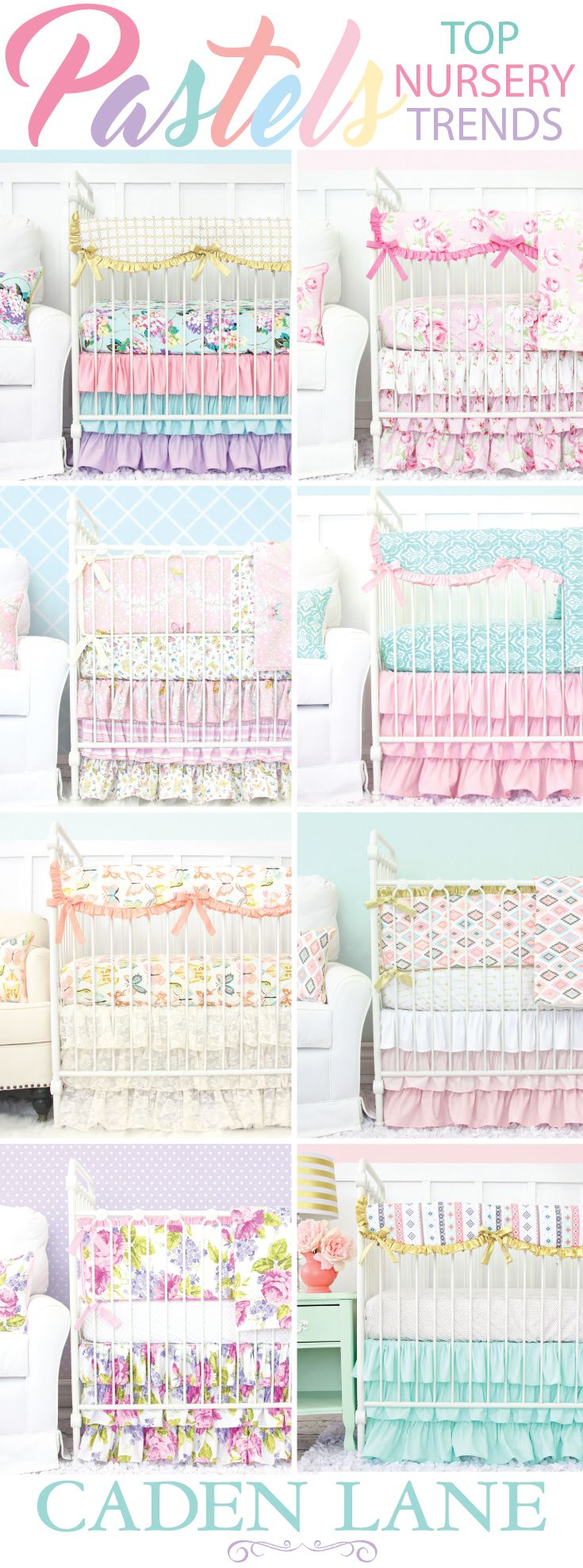 Pastel Baby Bedding comes in all of the most popular colors. Caden Lane has the most amazing baby bedding