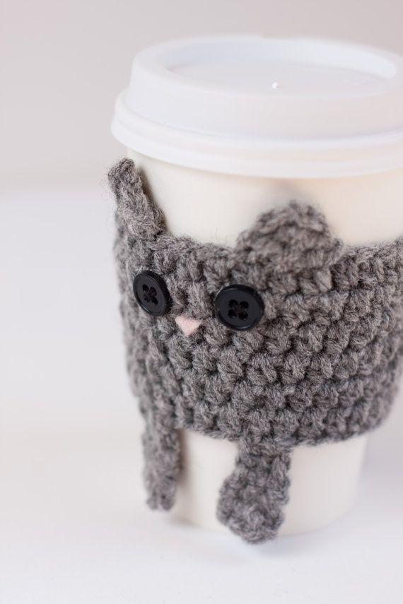 Crocheted Cuddly Grey Kitty Coffee Cup Cozy by CuddlefishCrafts, $25.00