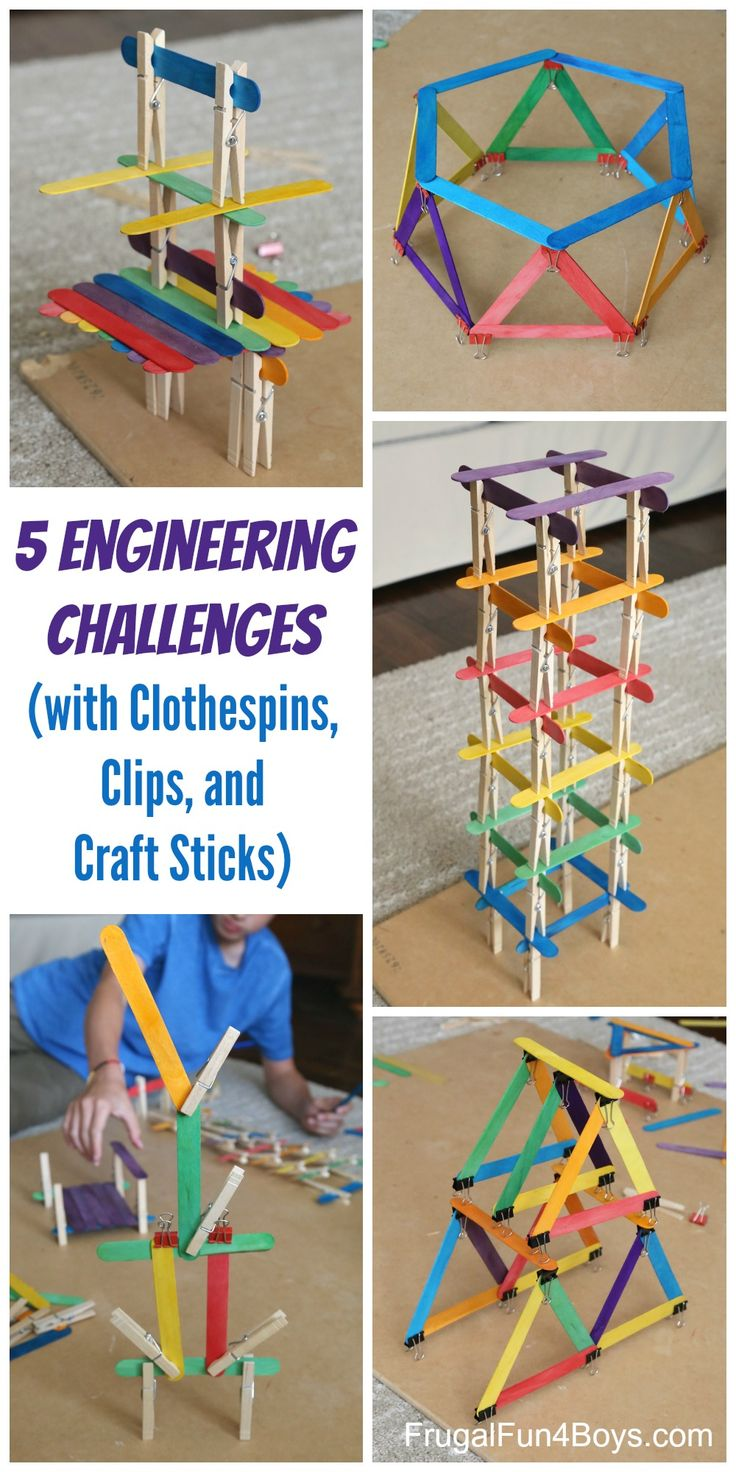 5 Engineering Challenges with Clothespins, Binder Clips, and Craft Sticks.  Awesome STEM activity for