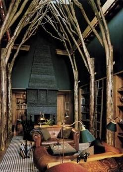 Gorgeous forest style library. Ahhhh, so beautiful! If I were a millionaire……