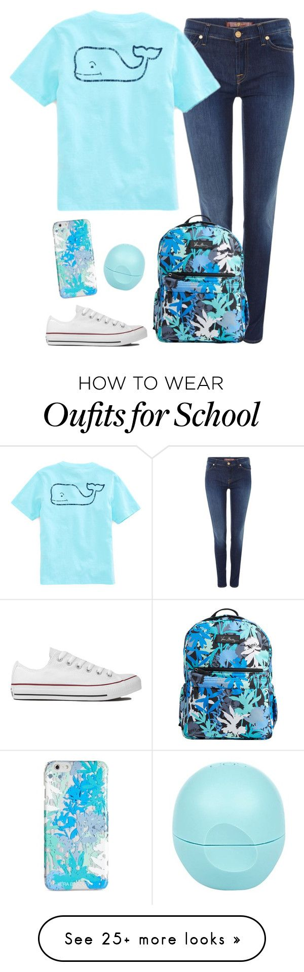 """School//Thuy"" by southern-slayers on Polyvore featuring 7 For All Mankind, Vineyard Vines, Converse, Vera"