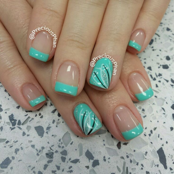 Mint french nails