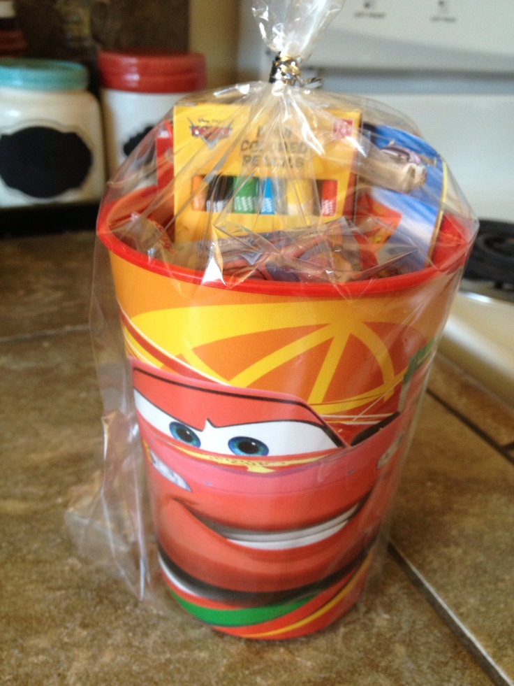 Cars birthday party favor. Plastic cars cup from target filled it with cars crayons, cars notepad, cars st