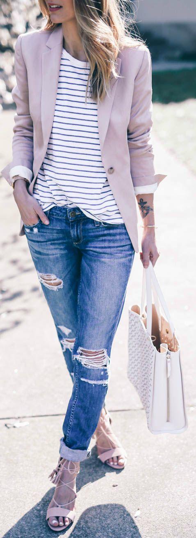 Jess Ann Kirby + classic spring style + distressed denim jeans + striped tee + pastel coloured blazer + cu
