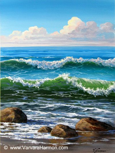 """Varvara Harmon – Artist and Illustrator – """"Ocean Waves"""" Original Acrylic Painting for the """"Painting in Acr"""