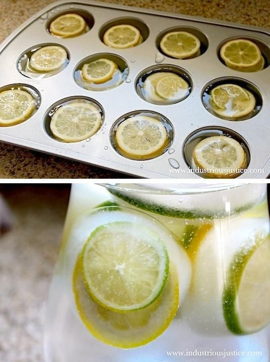 Use a cupcake tin to make fruit-filled ice cubes, then add them to pitchers of water or sangria at your sp