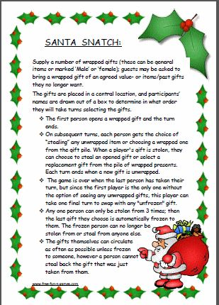 Santa Snatch (also known as Dirty Santa) – fun Christmas game for adults and/or kids
