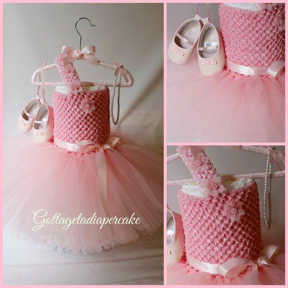 tutu dress, pink tutu, Dress diaper cake, Girls diaper cake, Baby shower gift, pink diaper cake, centerpie