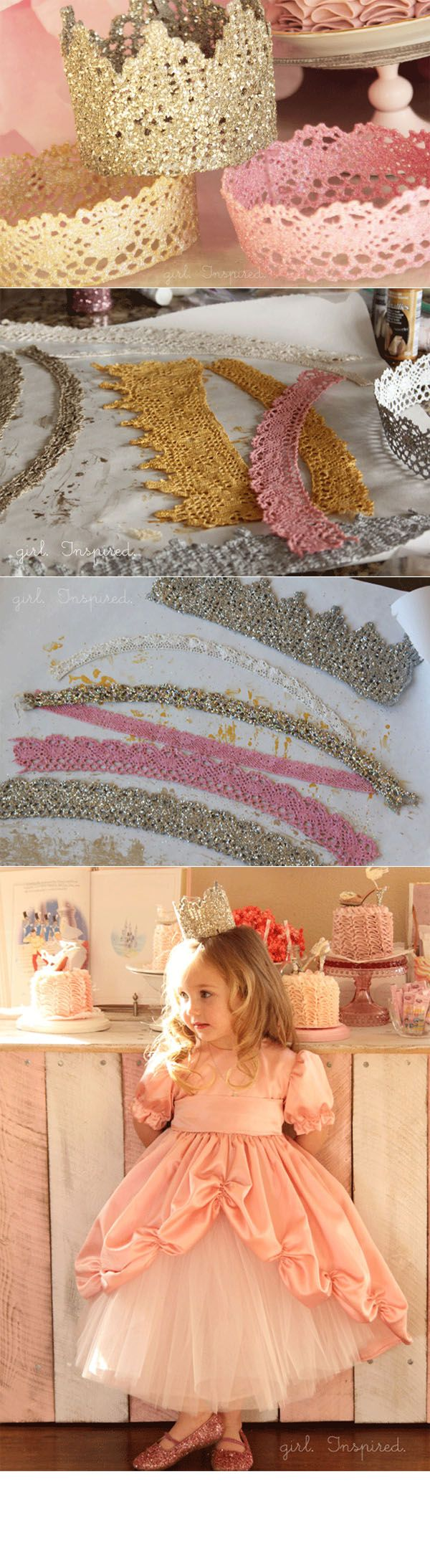 DIY :: lace princess crown for birthday party ( thegirlinspired.c… )