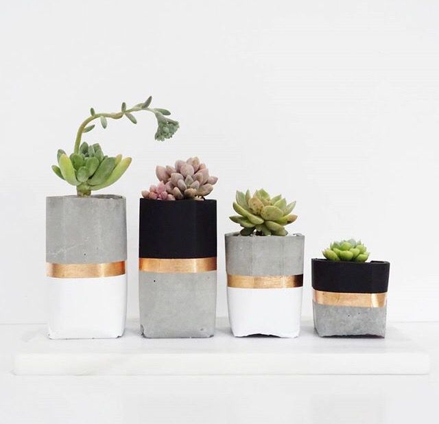 Concrete Pots // DiY Inspo. For desk or patio (but silver, not gold for patio). Pink coral, white, gol