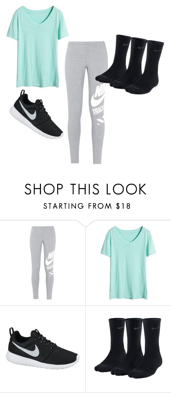 """""""Skyzone Outfit"""" by mayaleigh1 ❤ liked on Polyvore featuring NIKE"""