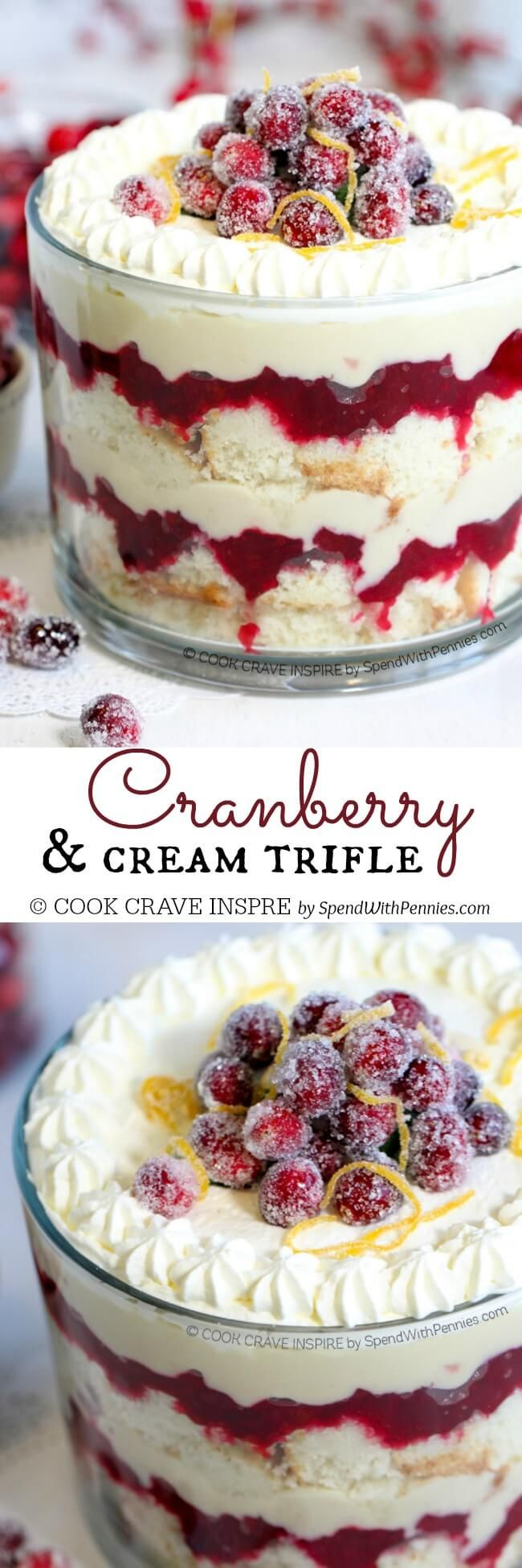 This easy Cranberry Trifle features soft cake layered with sweet tart cranberries and homemade custard