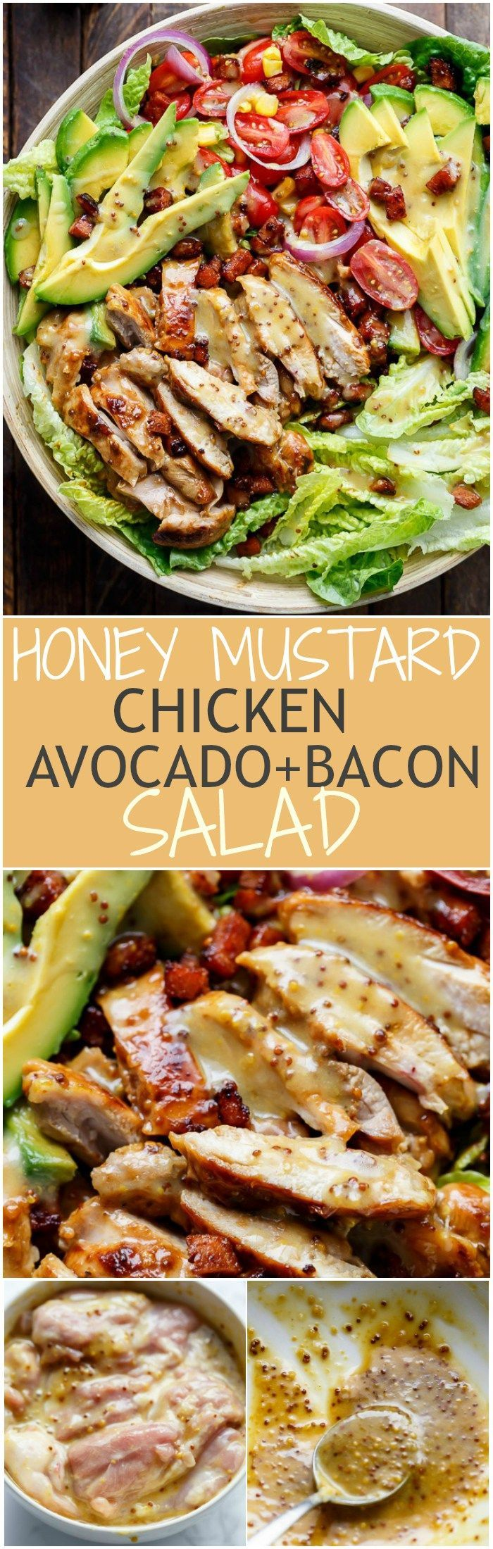 Honey Mustard Chicken, Avocado + Bacon Salad, with a crazy good Honey Mustard dressing withOUT mayonna