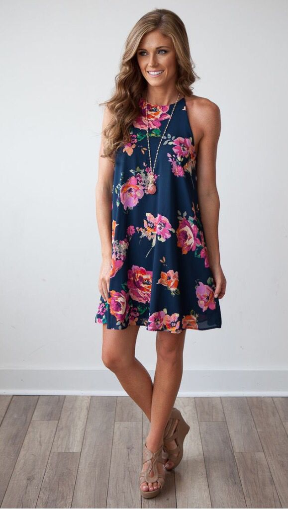 Adorable navy floral dress with pendant necklace and tan wedges. Want! Stitch fix spring 2016