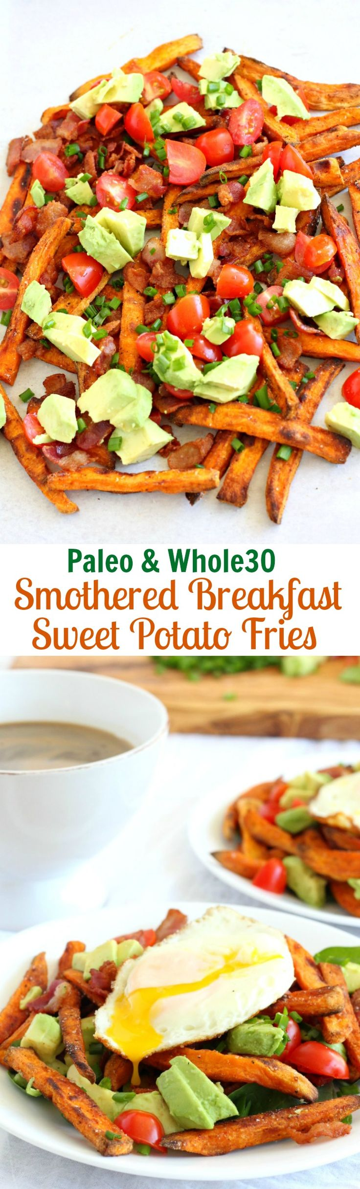 Smothered Breakfast Sweet Potato Fries – Paleo and Whole30 friendly! Crispy baked sweet potato fries a